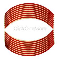 "16 Pcs 8mm Red Wheel Rim Tape Striping Reflective Sticker 18"" for Motorbike Car"