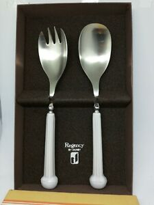 A SET DENBY POTTERY HANDLE WHITE  REGENCY SERVING FORK AND SPOON