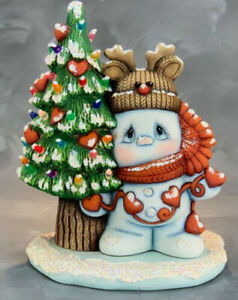 Sweet Love Snowman with Light Up Tree Kit  *  Ceramic Bisque Ready to Paint