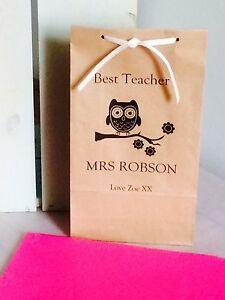 Personalised Block Bottom Paper Gift Bags Best Teacher Owl Design