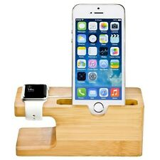 Natural Bamboo Wood Stand Dock Charger Holder For iPhone & IWatch