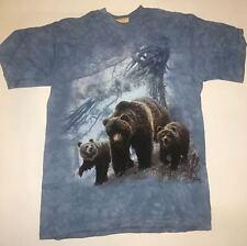 The Mountain Mama Baby Bear Woods Portrait Blue Tie Die Cotton T-Shirt Adult M
