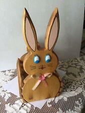 Vintage Wooden Bunny Easter Basket ~ Blue Eyed