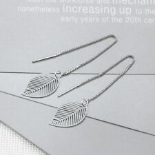 Women 925 Sterling Silver Leaf Shaped Threader Earrings Antique Dangle Jewelry