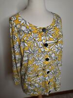 Laura Ashley Women's Yellow Black Button 3/4 Slleve 3X Cardigan Floral Sweater