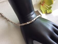 satin finish silver bracelet with cz, .925,great Christmas Gift