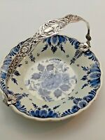 Delft Holland Silver Plated Handled Bridal Basket Candy Dish Handpainted