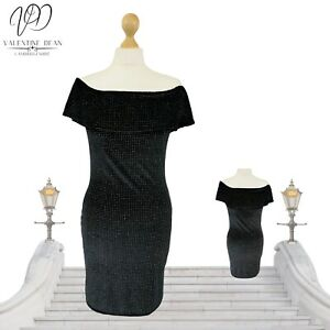 Evita Women Dress Off Shoulder Black Glitter Bodycon Mini Size 12