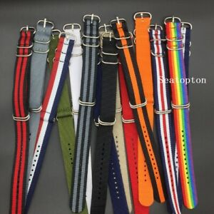 Strong Solid Stripe Army Military Ring Buckle Nato Nylon watchband Watch strap
