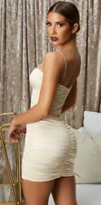 OH POLLY CHAMPAGNE IVORY RUCHED SATIN MINI DRESS SIZE 12 BUT TO FIT UK 8