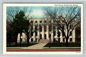 Garden City KS, Finney County Court House Vintage Kansas Postcard