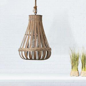 Pendel Leuchte Hänge Decken Lampe Vintage KAMINIKA Natur Bambus dimmbar E27