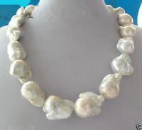 Fashion natural REAL AAA SOUTH SEA WHITE BAROQUE PEARL NECKLACE 18""