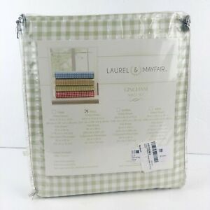 Laurel & Mayfair Gingham Full Size 4 Piece Sheet Set Green Plaid 100% Cotton