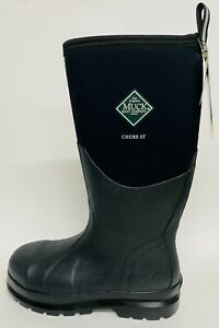 NEW CHS-000A Steel Toe Muck Chore HI Black Work Boots Tall Waterproof Sz 6-15