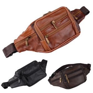 Mens Leather Waist Belt Bum Bag Money Fanny Purse Pack Hip Pouch Travel Pocket