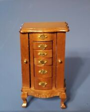 Dollhouse  Miniature Wooden Jewelry Cabinet Box Case W