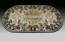 2.5'x4' Black Marble Dining Table Top Pietradure Inlay Hallway Art Outdoor Decor