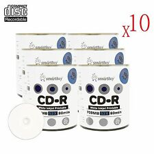 6000 Smartbuy CD-R 52X Recordable Disc Shrink/Bulk Wrap (White Inkjet Printable)