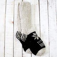 Funky Hand Knitted Winter Woollen Lhotse Socks - Black