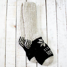 Funky Hand Knitted Invierno Lana Lhotse calcetines-Negro