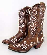 ARIAT Brown Distressed Leather Embroidered Western Cowboy Boots  Women's 11 B