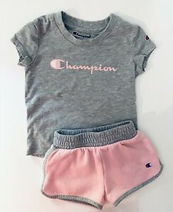 Champion Baby Girls 2t T-shirt and 24 Months Shorts Set Pink Gray Size 24months