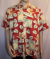 Pierre Cardin Hawaiian Shirt Red with Pineapples and Leaves Large Aloha