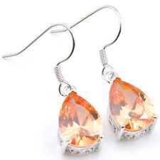 Pear Shaped Natural Morganite Gems Silver Dangle Earrings Wedding  Jewelry