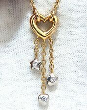 .50ct. open heart diamonds dangle necklace 14kt g/vs stars & heart