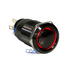 Durable 19mm Car Push Black Latching Dome Button Red LED Angel Eye Switch