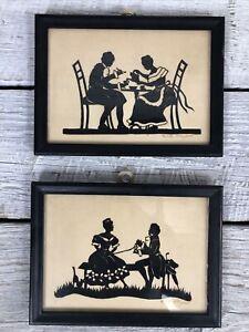 Antique Folk Art Hand Cutout Silhouettes of Gentlemen & Lady Erika Strupat
