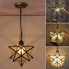 Moravian Star Glass Pendant Chandelier Light Modern Ceiling Fixture Lamp Decor