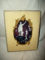 ANTIQUE FRENCH CELLULOID ORNATE PICTURE FRAME 1920's BEADED EDGE MARKED