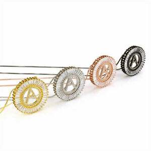 Gold Micro Pave Rainbow Cubic Zirconia A-Z Initials Letter Pendant Necklace Gift