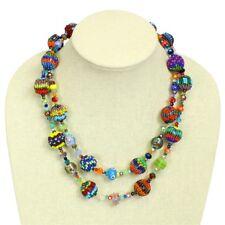 "NE506 Genuine Crystals Glass Beads Fiesta Dbl Strands 20"" Necklace Magnet Clasp"