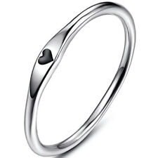 Stainless Steel Heart Shape Classical Wedding Band Stackable Ring