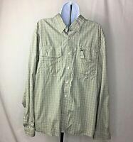 Simms Mens Size Green Plaid Button Down Long Sleeve Shirt