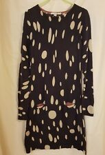 Boden knitted purple and black spotty 100% wool long sleeve dress size 8