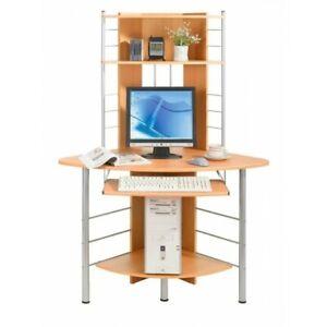 Scrivania per computer Angolare Faggio casa ufficio pc e monitor 116x65x158 cm