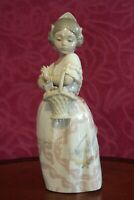 NAO By Lladro Valencia Girl With Basket Of Roses Figurine Rare