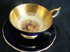 AYNSLEY COBALT CUP AND SAUCER  BLUE FRUITGOLD DESIGN WIDE MOUTH SIGNED D JONES N