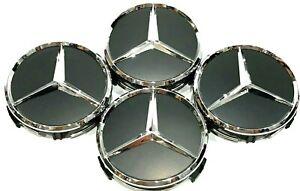 4Pcs, Wheel Center Hub Cap 75 MM Black Matte, Mercedes Benz Fit: C CLS S E GL SL
