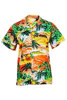MENS HAWAIIAN SHIRT STAG BEACH HAWAII ALOHA  SUMMER HOLIDAY FANCY ORANGE CLIFF