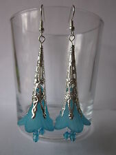 Long Drop / Dangle Earrings - Filigree Trumpet Flowers - Turquoise Blue SP