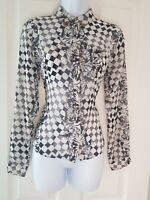 Womens Topshop Shirt size 8 black white cuffed long sleeve collard button vgc