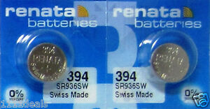 2-Renata 394 Watch Battery SR936SW SR45 Silver Oxide