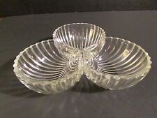 Glass Ribbed Design Candy/Nut Dish, 3 compartment