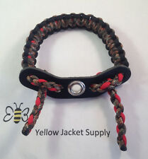 Archery Lost Camo / Hidden Camo / Red Paracord Bow Wrist Sling Leather Yoke
