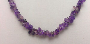 """*Authentic* India Purple Amethyst Chip Bead Crystal 18"""" Necklace #21"""